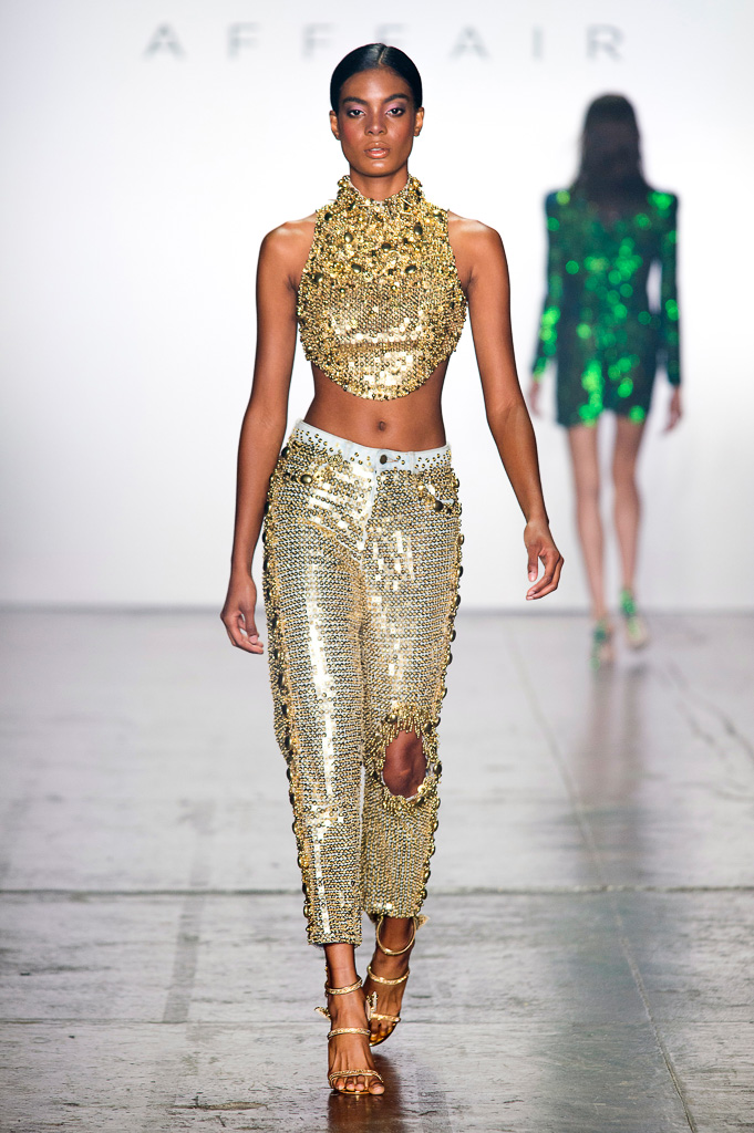 Sleeveless Sequin Crop Top with Jeans Backside and Semi-Precious Stones Decoration at the Neckline