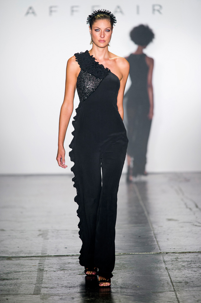 One-Shoulder Jumpsuit with Side Ruffles and Mesh Insert Decorated with Semi-Precious Stones on the Chest